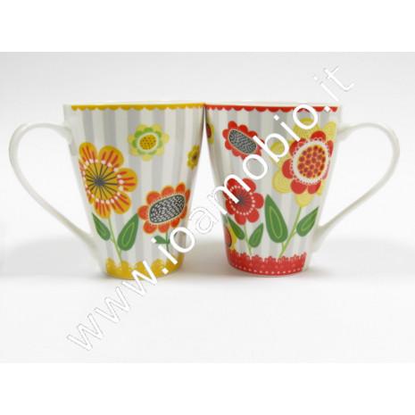 Tazza mug ceramica decori fiori
