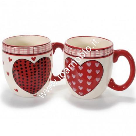 Tazza ceramica decorazione cuori