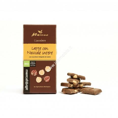 Mascao - Cioccolato al Latte con Nocciole Intere Bio 100g