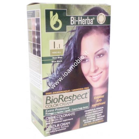 Tintura capelli 1.1 - Nero Blu Tinta in crema con estratti bio certificati