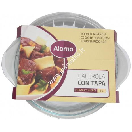 Pirofila Tonda Vetro con Coperchio - 2lt - Cottura in Forno e Microonde