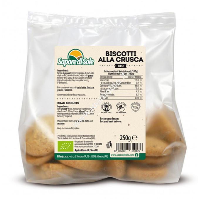 Biscotti biologici alla Crusca 250g - Senza lievito senza zucchero