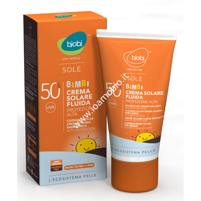 Bjobj - Crema Fluida Solare Bimbi Protezione Alta SFP 50 - 125ml