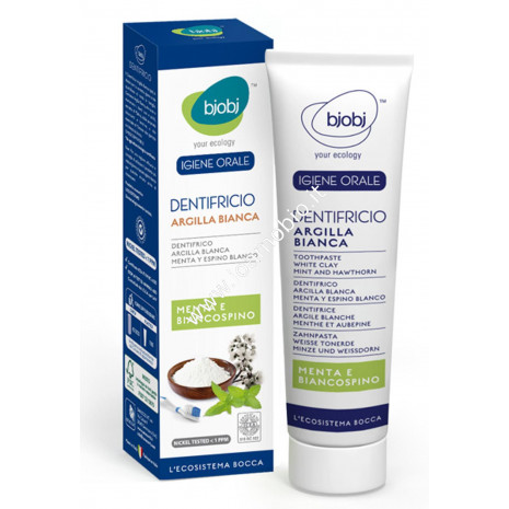BjoBj - Dentifricio Argilla Menta e Biancospino 75ml- Purificante e Rinfrescante