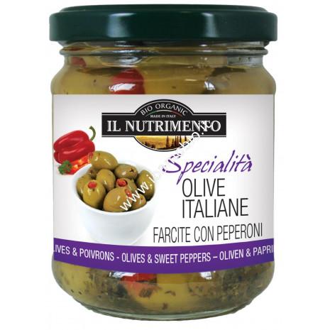 Olive Italiane Farcite con Peperoni 190g - Biologiche