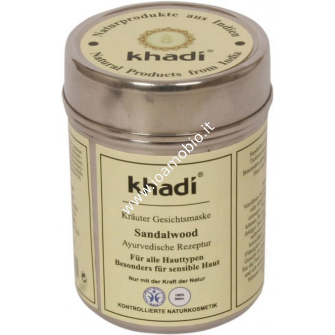 Khadi Bio Maschera Ayurvedica per Viso al Sandalo 50g - Pelli Sensibili e Secche