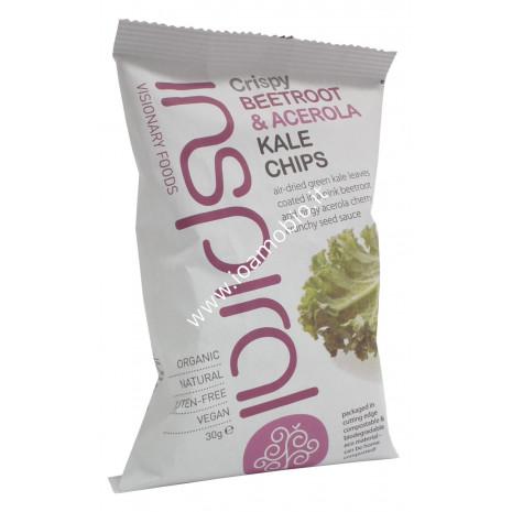 Inspiral - Raw Kale Chips Barbabietola & Acerola 30g - Snack di Cavolo Ricco Bio