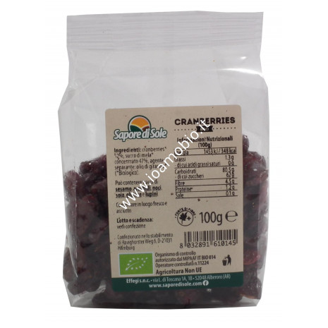 Mirtilli Rossi - Cranberries Biologici 100g