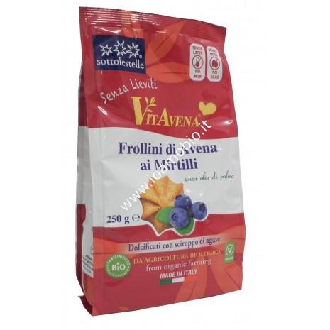 Frollini di Avena ai Mirtilli 250g - Senza Latte, Senza Uova, Senza Lieviti