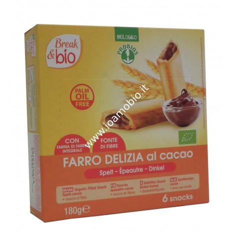Farro Delizia al Cacao 6 Snacks - Merendina Biologica Fonte di fibre