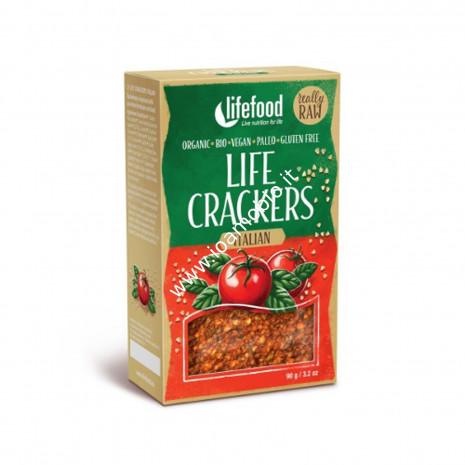 Pane Croccante con Pomodoro e Basilico Raw 100g - Snack Biologico Lifefood