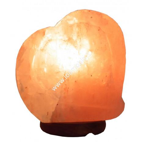 Lampada Cuore Doppio ai Cristalli di Sale 3kg + Filo e Lampadina - Base Legno