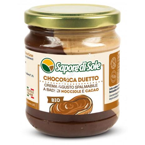 Chocorica Duetto 200g - Crema Biologica Spalmabile Nocciola Cacao