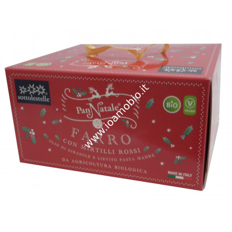 Pan Natale di Farro con Mirtilli Rossi 500g - Panettone Biologico Sottolestelle