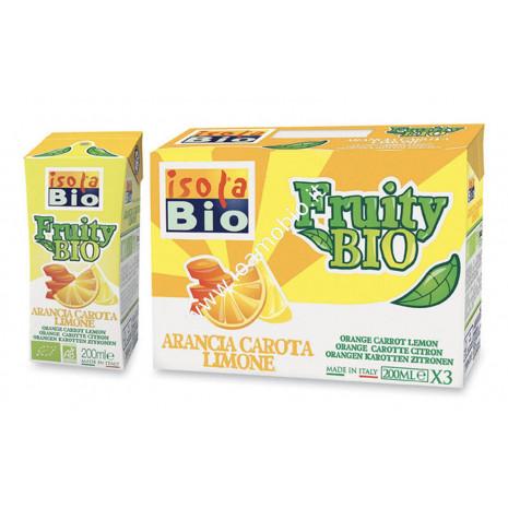 Fruity Bio - Bevanda di Arancia Carota Limone - Succo Frutta Biologico Isola Bio