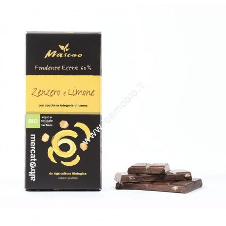 Mascao - Cioccolato Fondente Zenzero e Limone - Bio - 100g