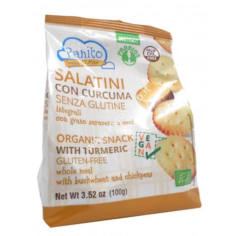 Salatini con Curcuma Senza Glutine 100g - Biologici con Grano Saraceno e Ceci
