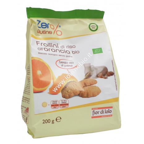 Frollini di Riso all'Arancia 200g- Biscotti Biologici Senza Glutine Fior di Loto
