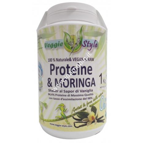 Veggie Style - Vegan Protein Vaniglia e Moringa 1kg - Proteine Vegane Biologiche