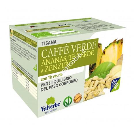 Caffè verde, ananas, tè verde, zenzero 20 filtri - Valverbe Tisana biologica