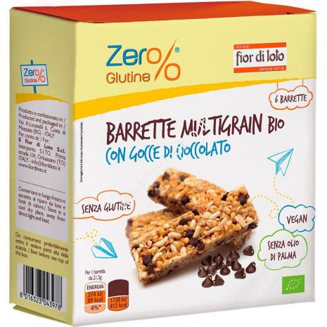 Barrette Multigrain con Gocce di Cioccolato Bio 130g - Senza Glutine Fior di Loto