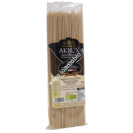 Spaghetti Akrux Integrale 500g - Pasta biologica senatore cappelli Sottolestelle