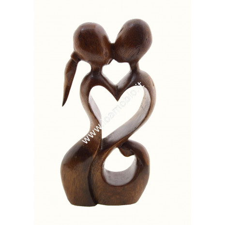 Statua Amorini Cuore 15cm - In Legno Esotico Pregiato - Armonia e Amore di Coppia