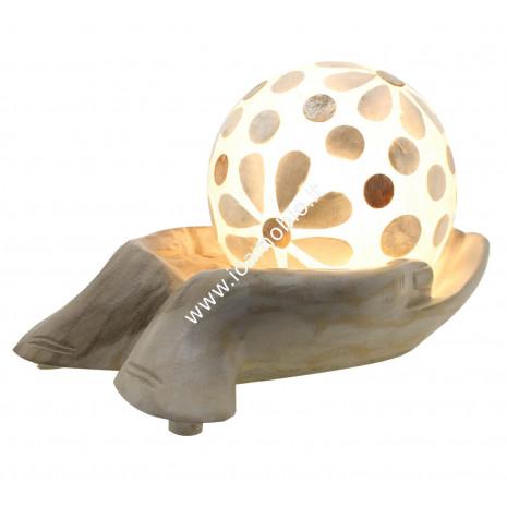 Lampada Mano in Legno con Sfera in Fibra di vetro - Decorazioni in Madreperla
