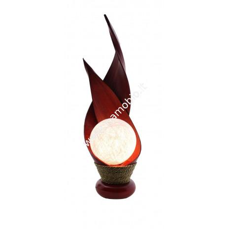 Lampada in Cocco Sinuosa Mamma con Baby - Sfera color Panna